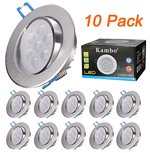 Focos Empotrables LED Kambo Focos Led Empotrables en Techo 7W Frío Blanco 6000K 630LM Redondo Ø85-90mm Ángulo Rotable 30° AC 230V Downlight Led Ojos de Buey de LED 10PCS