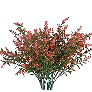 DPJQJX Artificial Lavender Flowers Fake Flowers for Hanging Planter Home Wedding Porch Window, Indoor Outdoor UV Resistant Faux Plastic Shrubs Greenery Bushes Bouquet