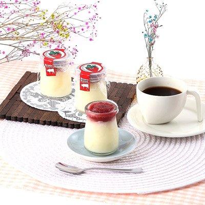 リッチなミルク感と甘酸っぱいいちご味  ブラウンスイス乳いちごミルクプリン