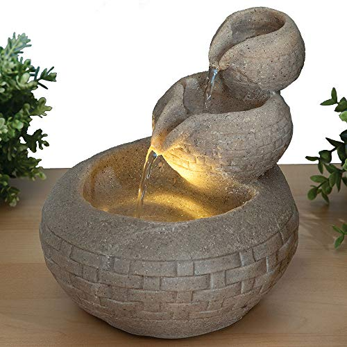 Bits and Pieces - Sandstone Triple Bowl LED Indoor Water Fountain - Zen Tabletop Water Fountain