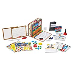 REALISTIC CLASSROOM PLAY SET: The Melissa & Doug School Time! Classroom Play Set includes everything kids need to enjoy hours of classroom playtime. The set features drop-down teacher and student desks. 150+ ACCESSORIES: This classroom playset includ...