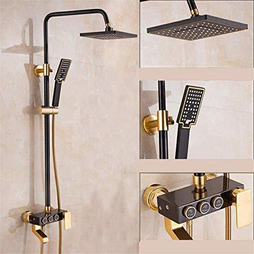 AXWT Cabeza de ducha de aluminio caliente y caliente negro, baño de pared de pared de baño con ducha de ducha de la ducha de la ducha superior de la altura de la altura de la ducha ajustable de la duc