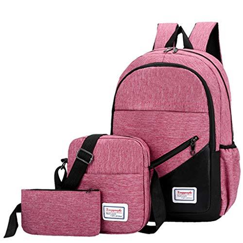 NEARTIME Outdoor Travel Shoulder Bag for Girls-Three Fashion 3 Piece Canvas Solid Color Backpack+Clutch Bag+Messenger Bag