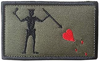 Black Beard Edward Pirate Patch Jolly Roger Skull Heart Embroidered Military Morale Patches Hook & Loop Decorative Badge f...