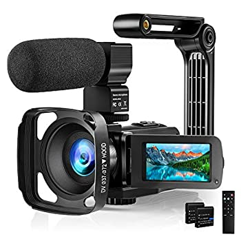 Video Camera Camcorder with Microphone 2.7K HD 36MP/30FPS YouTube Vlogging Camera IR Night Vision 16X Digital Zoom Digital Recorder with 3.0  IPS Touch Screen Remote Control Handheld Stabilizer