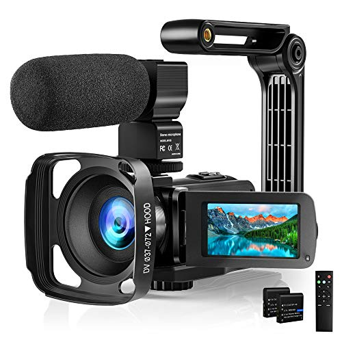 "Video Camera with Microphone 2.7K Camcorder HD 36MP/30FPS YouTube Vlogging Camera IR Night Vision 16X Digital Zoom Digital Recorder with 3.0"" IPS Touch Screen, Remote Control, Handheld Stabilizer"