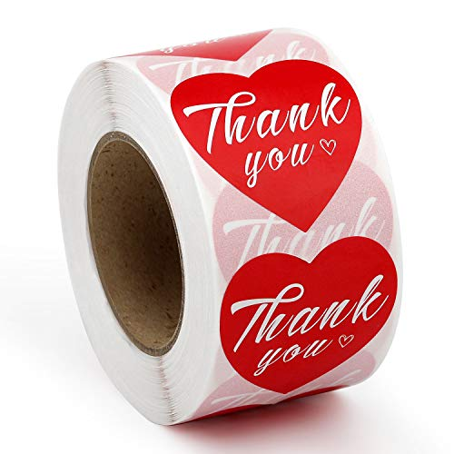 Methdic Thank You Stickers Labels Roll for Business Favors Birthday Gift Bags Baby Shower Wedding 500 Labels 2 Rolls 1.5'' Heart Shape (Thankyou-A-2set)
