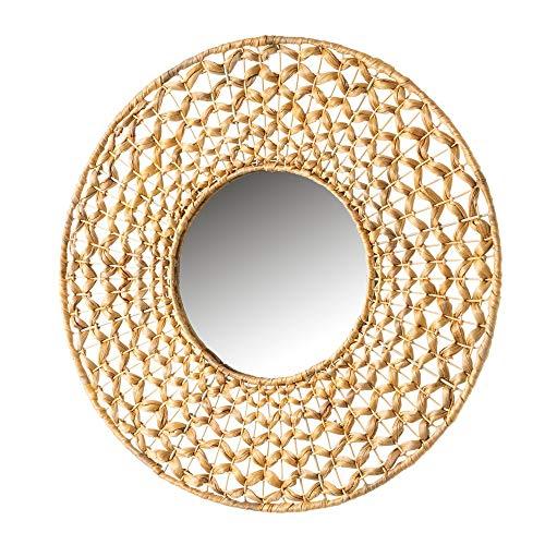 Espejo Trenzado Beige de Fibra Natural y Metal de 55x55 cm - LOLAhome