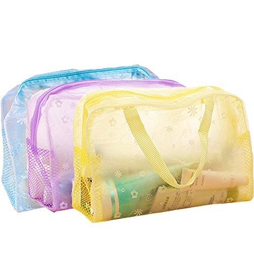 Aiuin Lot de 3 sacs de toilette tendance à motif floral transparent étanche