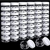 50 Pack Cosmetic Containers, HNYYZL 5 Gram Clear Round Pot Jar Plastic Sample Container with Lid, for Eye Shadow Bead Earring Liquid Lotion Cream Make-up Storage
