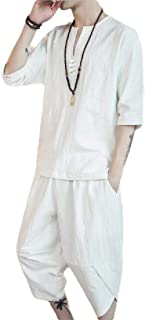 Men's 2 Piece Loose Cotton Linen Sleeveless Shirt and Pants Set