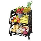 ZQWE Cesta con Ruedas, Estante de Utilidad Apilable para Cesta de Frutas, Contenedor Organizador de Almacenamiento para Cocina, para Mostrador y Organizador Cocina Cesta (B/2)