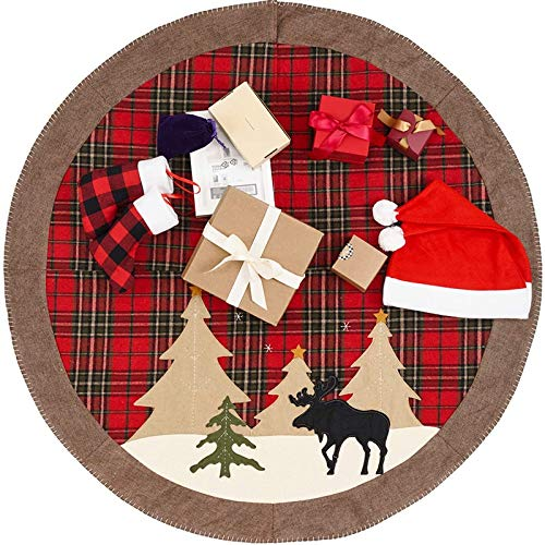 Bestlymood Gonna per Albero di Natale 42 Pollici Gonna per Albero di Tela Rustica Scozzese di Bufalo di Grandi Dimensioni Decorazioni per la Casa per Le Vacanze di Natale