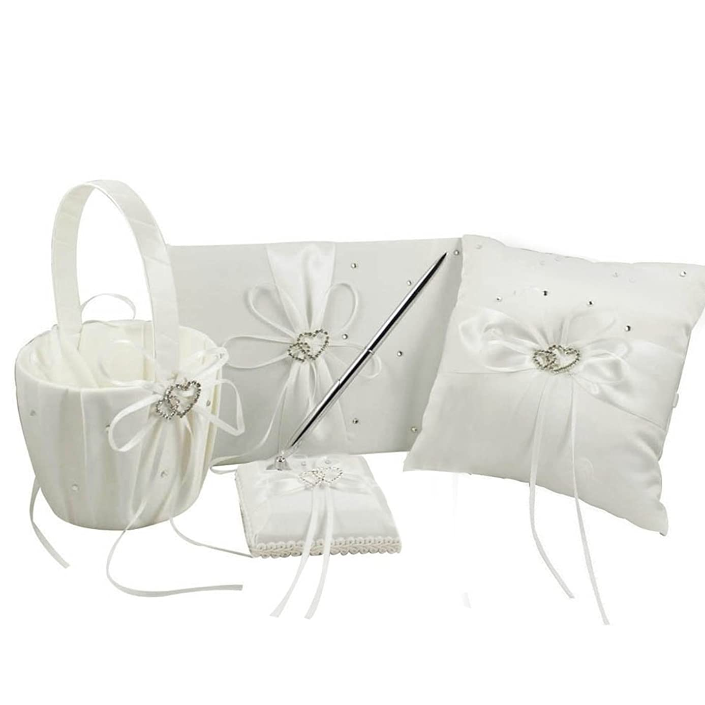 IvoryFour Wedding Accesorries Sets High Quality Wedding Guest Book +Pen Set +Flower Girl Basket + Ring Pillow, Double Hearts Rhinestone Elegant Wedding Ceremony Party Favor Sets