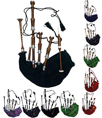 Aar de tamaño completo escocés gaita o de madera de palisandro acabado en negro con plateado Plain Mounts libre Tutor libro, bolsa de transporte, Drone, juncos