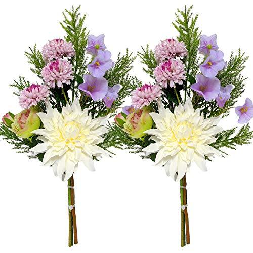 高級仏花 ダリアピンクマム 約48cm 【2束組】 枯れないお花 造花 お手入れ不要 お墓 お仏壇 お盆 お彼岸