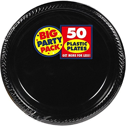 Big Party Pack Jet Black Plastic Plates | 10.25' | Pack of 50 | Party Supply