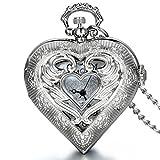 Médaillon pendentif cœur en argent Jewelrywe style montre de poche vintage pour...