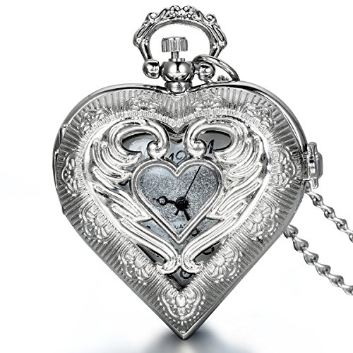 【Delicate Design】silver tone with love heart shaped,hollow angel wings crafted,nice weight and comfort fit.A lovely gift for women girls. 【A Working Pocket Watch】this heart pocket watch with chain use the quality Japanese quartz movement,it is a func...