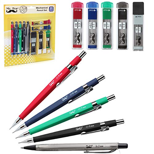 Mr. Pen Mechanical Pencil Set with Lead and Eraser Refills, 5 Sizes - 0.3, 0.5, 0.7, 0.9 and 2 Millimeters, Drafting, Sketching, Illustrations, Architecture, Drawing Mechanical Pencils