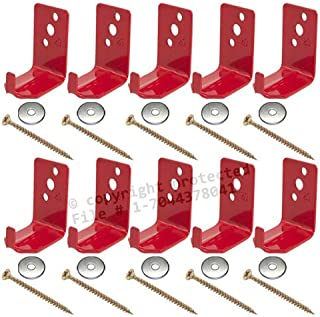 (Lot of 10) Universal Fire Extinguisher Wall Hook, Mount, Bracket, Hanger for 15 to 20 Lb. Extinguisher - FREE SCREWS & WASHERS INCLUDED