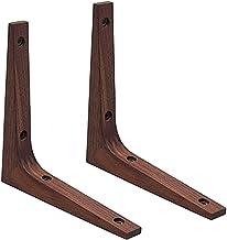 Massief houten plankbeugels, 2 stuks, wandgemonteerde planken beugels, driehoek planksteunen, creatieve decoratie plankbeu...
