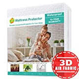 SOPAT Mattress Protector Queen 100% Waterproof Mattress Pad Cover 3D Air Fabric Breathable Smooth Soft Cover Premium Fitted Mattress Protector Elastic Deep Pocket Vinyl Free
