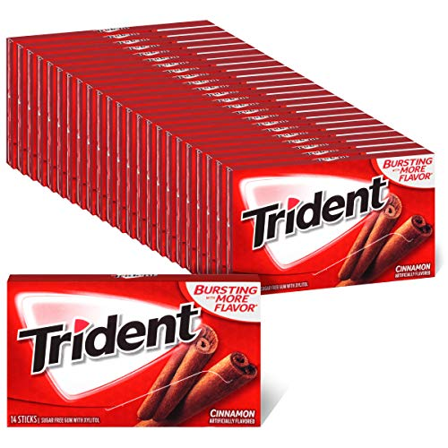 Trident Cinnamon Sugar Free Gum, 24 Packs of 14 Pieces (336 Total Pieces)