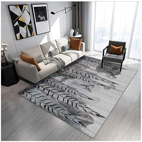 Mmxhn Feather 3D Printing Carpet Polyester Carpets For Living Room Non-Slip Anti-Wrinkle Bedroom Decor Rug Bedside Carpet-180X280Cm