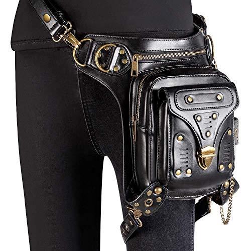 RJJ Sport PU Leather Steampunk Waist Pack Gothic Fanny Pack, Vintage Gothic Retro Skirt Messenger Bag Hip Bag Handbag, For Men, Women Motorcycle Riding