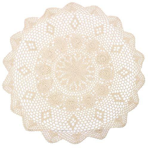 YIZUN Redonda Beige algodón Crochet Encaje Mantel de servilleta Hecho a Mano, diámetro 29cm