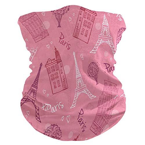 LIUBT Bandana Gesichtsmaske Staubschutz Outdoor Sport Kopftuch Sonne UV Motorrad Pink Vintage Paris Eiffelturm Gesicht Schal für Damen Herren