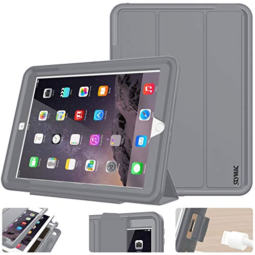 SEYMAC stock Case for iPad 9.7 inch 5th/6th Generation Case, Smart Magnetic Auto Sleep / Wake Cover with Stand Feature for iPad 2017/2018 Release Model (Gray/Gray)
