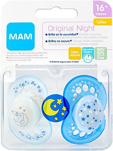 MAM Chupete Original Night S175 - Chupete con Tetina de Látex, para Bebé de 16+ meses, brilla en la oscuridad - Azul (2 unidades) con caja auto Esterilizadora, Versión Española