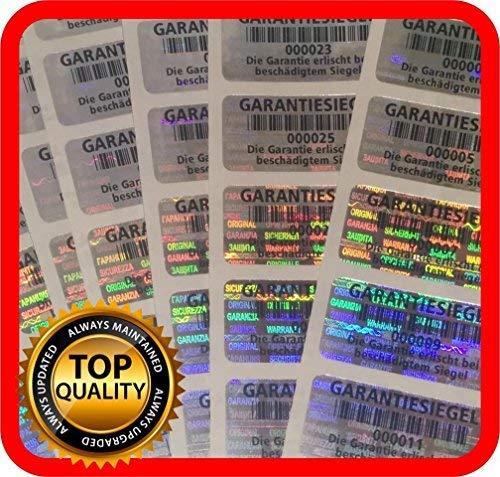250 St. Garantiesiegel Hologramm Etiketten Garantie Siegel Sicherheits Aufkleber 32x15mm GERMAN TEXT