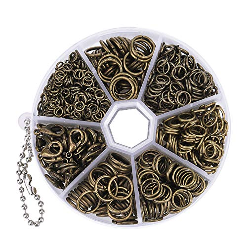 Livder 1210 Pieces Jump Rings with Lobster Clasps for Jewelry Making Finding and Necklace Earring Repair (Retro Bronze)
