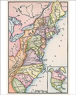 Media Storehouse 10x8 Print of Thirteen Original Colonies in 1776 (5881847)