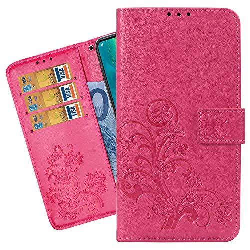 Ougger telefoonhoes voor Motorola One Action hoes, premium leer PU flip case beschermhoes voor Motorola One Action klaphoes telefoonhoes, [kaartsleuf] [standfunctie], gelukkige bladeren, Magisch roze