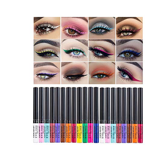 WWWNNUUUX Matte Liquid Eyeliner, 12 Colori Colorata Eyeliner Set duraturo Impermeabile ad Alta pigmentato Brighten Pigmenti smudgeproof colorato Eye Liner Pen
