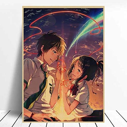 BGFDV Póster de Anime, Pintura en Lienzo, su Nombre, película de Anime Japonesa, Lienzo, Pintura Digital, Pared, decoración del hogar, decoración de Anime