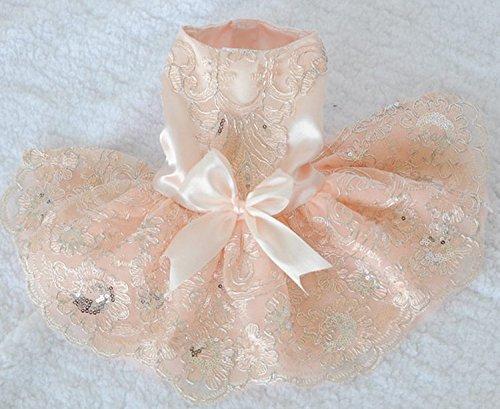犬の服 つなぎ ドッグウエア ペット用品 ペッド服 ペットグッズ 春 夏 犬服 かわいい レーススカート ウエディングドレス ピンク (XL)