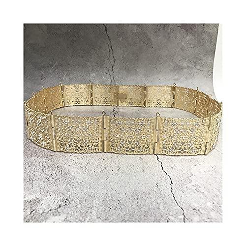 LCKJ Cinturones de moda de las mujeres de lujo de la aleación de oro de lujo de la aleación de la cadena de la cintura ancha de la joyería de la cadena de la cintura para las mujeres patrón hueco Dora
