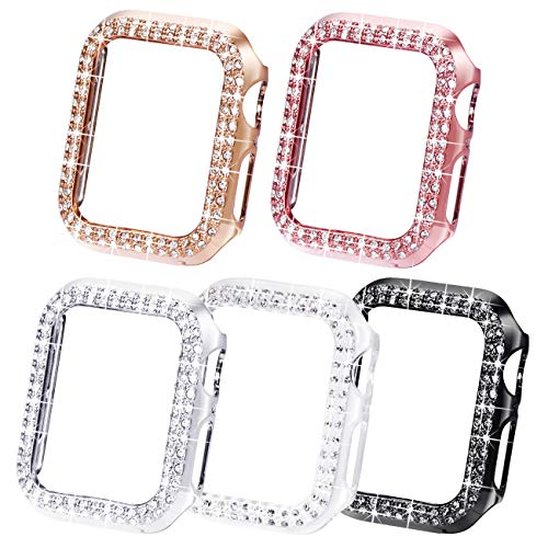 NewWays Bling Cases Compatible for Apple Watch 38mm 40mm 42mm 44mm, Protective Bumper for iWatch SE Series 6 5 4 3 2 1 (44mm, Black/Pink/Rose Gold/Silver/Clear)