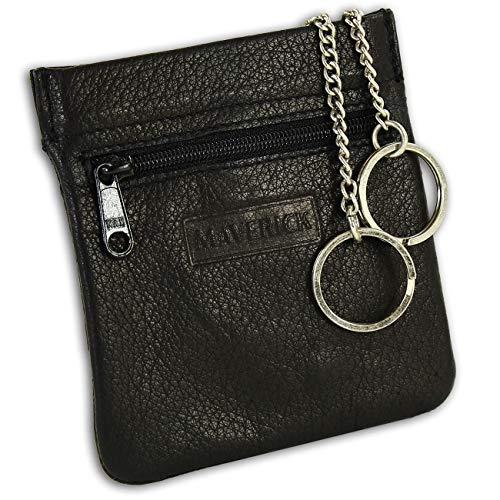 Maverick Schlüsseltasche Etui Geldbörse schwarz Leder 10x0,5x10cm OPD901S Leder Schlüsseltasche