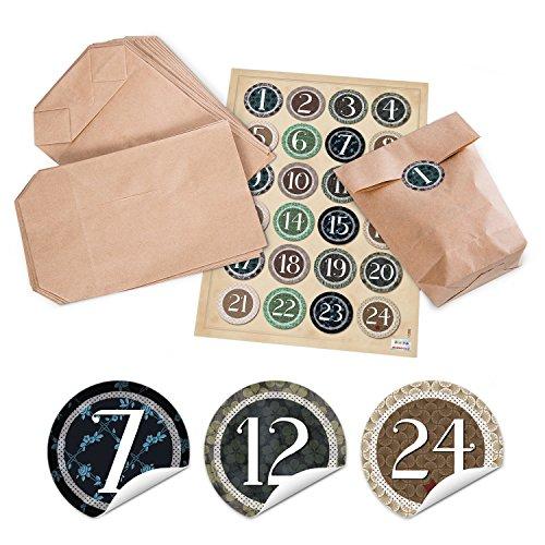 Set adventskalender zakjes naturel vintage knutselen + 1 tot 24 cijfers cijfers stickers kinderen en volwassenen 14 x 22 x 5,6 cm kerstkalender kalender