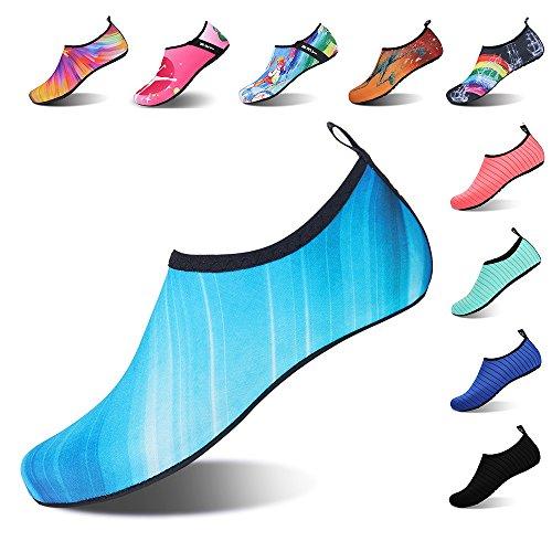 IceUnicorn Buty do pływania damskie i męskie, buty plażowe, buty do surfowania, buty do wody, do sportów wodnych, na plażę, na basen, do surfowania, jogi, - 2 niebieskie - 38/39 EU