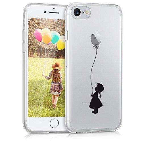 kwmobile Cover Compatibile con Apple iPhone 7 - Custodia in Silicone TPU - Back Case Cover Protettiva Cellulare Ragazza con Palloncino Nero Trasparente