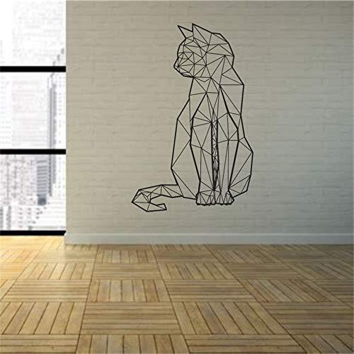 sxh28185171 Calcomanía de Vinilo de Arte de Pared de Gato geométrico Etiqueta de calcomanía de decoración de habitación de Sala de juego37 x 58 cm