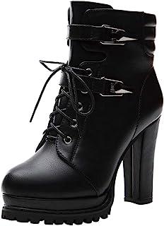 Bottines Femme Talons, Chaussure Fille Bottes Caoutchouc Escarpins Talon Moyen Bottines Chelsea Cuir Wellington Boots Comf...