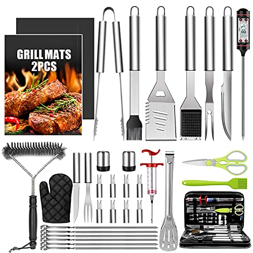 Taimasi 34Pcs BBQ Grill Accessories Tools Set, 16 Inches Stainless Steel Grilling Tools with Carry Bag, Thermometer, Grill Mats for Camping/Backyard Barbecue, Grill Tools Set for Men Women